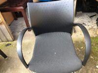Black Office Chair -SENATOR chair- Fixed Back - Silver Chrome Legs