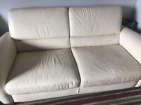 Leather sofa x2 and reclining chair