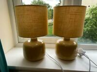 2 x Ochre Yellow Table Lamps