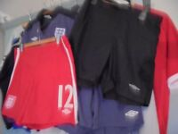 England football tops and shorts