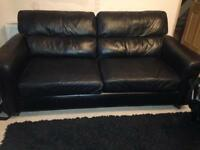 Leather two seater sofa x2