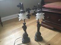 Pair of Bronze Cherub Table Lamps/Boy & Girl