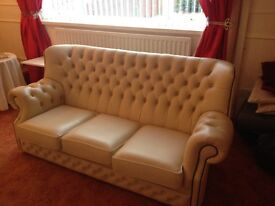 Three seater highback Chesterfiled and two chairs