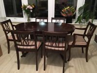 Marks Spencer Solid Mahogany Extendable Dining Table And 6 Chairs Including 2 Carver