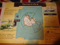 Vintage 1950's Educational Wall Poster Empire Information Project - Antarctica