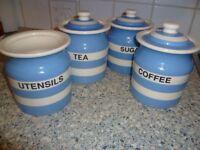 TG Green Cornish Ware (blue and white) storage jars Tea Coffee Sugar Utensils