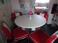 Authentic American Diner Table And 4 Chairs.
