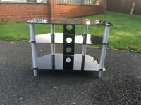 Black Glass TV Stand 3 Shelf Chrome Legs Clean 28 ins wide 20.5 ins high 16 ins deep
