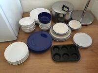 Plates, bowls, pot, muffin tin