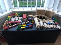 Wood railway and train set