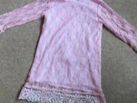 Girls pink lace dress