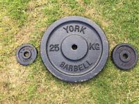 York Cast Iron Dumbbell/Barbell Weight Plates