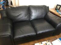 Brand new black leather sofa