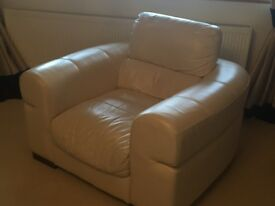 CreM leather 3 & 2 seater sofas & armchair