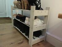 French grey wooden shoe rack