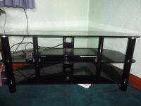 tv stand black glass and samsung blu-ray dvd player