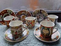 Beautiful, delicate Japanese porcelain cups and saucers with geisha lithopane in bottom of cups.