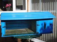 Blue Plastic Rabbit Hutch - in Good Condition