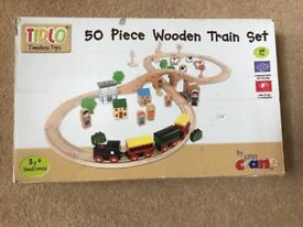 50 piece wooden train set in excellent condition