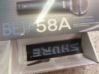 shure beta 58 A . brand new with accessories.