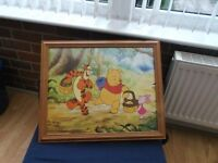 LARGE SOLID PINE FRAMED WALL MOUNTED WINNIE THE POOH PICTURE