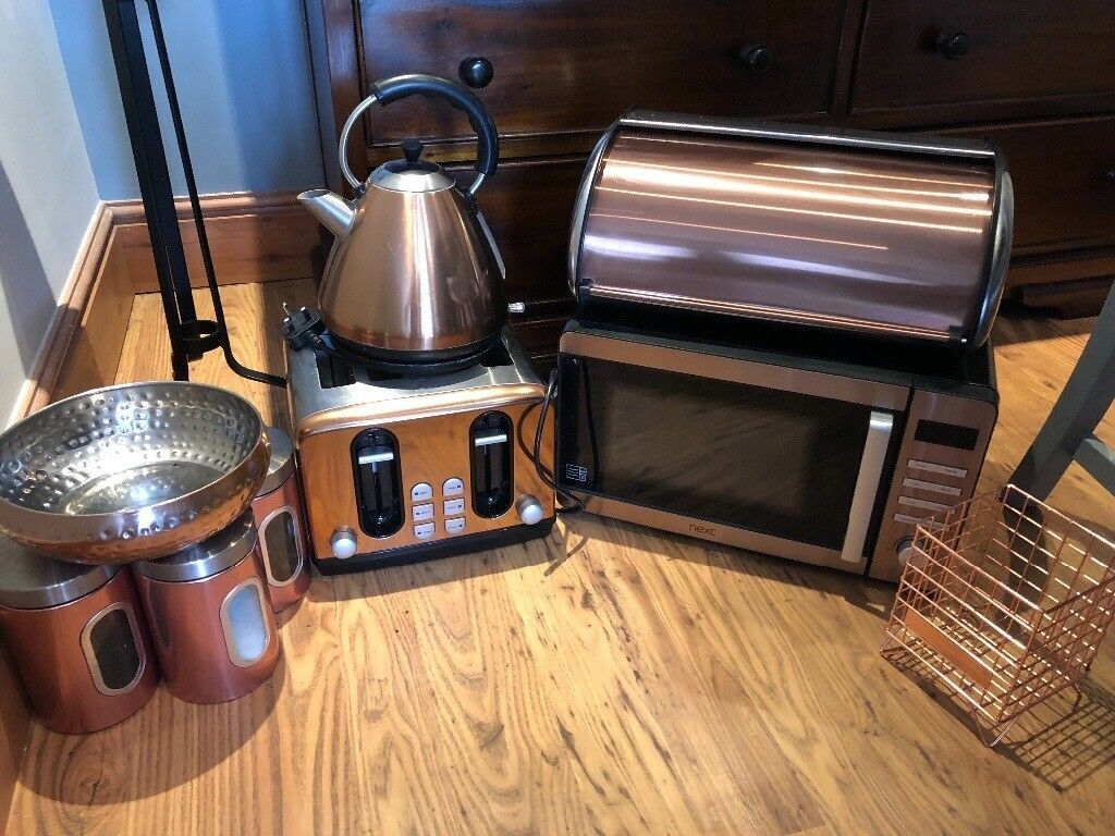 Variety Of Copper Kitchen Accessories Incl Kettle Toaster Microwave Bread Bin Storage