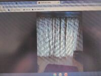 Pair of Ponden Home Green/Maroon Floral Fully Lined Eyelet Curtains