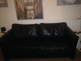 Italian Leather sofas black