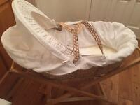 Mamas and papas Moses basket with 2 stands
