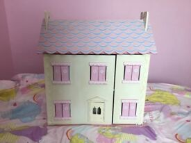 Used White Pink And Blue Dolls House Set