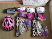 OXELO Kids Inline Skates adjustable to 4 sizes UK 2.5 to UK 5 - like new cond.