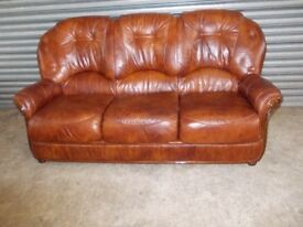 Italian Brown / Tan Leather 3-1-1 Suite (Sofa)