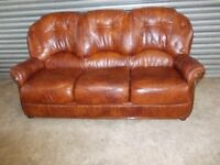 Italian Brown / Tan Leather 3-1-1 Suite (Sofa)