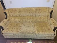 Beige mustard sofa set for sale! Good condition