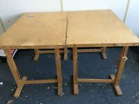 2 x Work Tables -easily disassembled - adjustable height - ideal for mat cutters or dressmakers