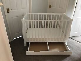 Cot/ Daybed with good Mattress and drawer. immaculate condition. Really lovely style. Cost £250 new.