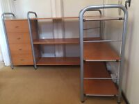 Corner shelf and drawer unit for home study. Adjustable shelving heights. Assembled in minutes.