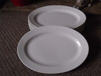 x6 Large White Oval Porcelain Plates - vgc.