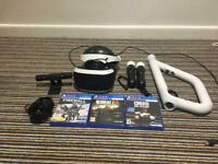 PSVR , VR controllers , PS camera , VR Gun , twin docking station for psvr controllers and 3 games.