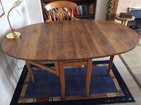 Folding table walnut wood with veneer finish
