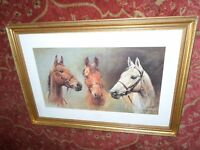 """BEAUTIFUL LARGE FRAMED HORSE RACING PRINT 33""""x 23"""" STUNNING PICTURE RED RUM ARKLE DESSIE EXCELLENT"""