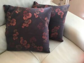 Navy Japanese floral print cushions (with copper thread)