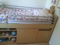 Single Cabin Bed with drawers, shelves and pull out desk