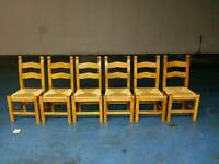 6 X solid oak dining table chairs ( item 12 )