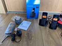 TRIPLE PANASONIC KX-TGB113 DIGITAL CORDLESS PHONES: 3 HANDSETS, BOXED + INSTRUCTIONS, FOR LANDLINES