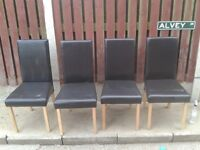 DINNING CHAIRS X 4 BROWN FAUX LEATHER