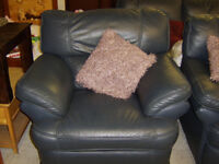 Leather three seater sofa, two seater sofa and reclining armchair