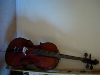 3/4 size Rumanian cello with bow and case -excellent condition and gorgeous tone