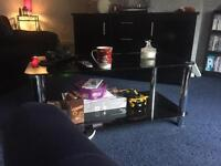 Black glass coffee table & matching tv stand