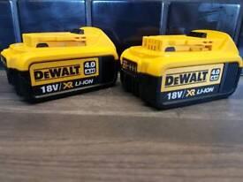 DeWALT DCB182 18V XR Li-ion 2x 4ah batteries______________________________Makita bosch hitachi hilti